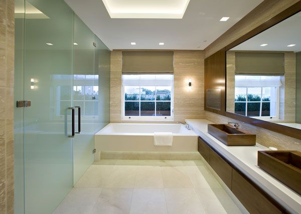 bathroom travertine walls and crema marfii marble honed floor tiles