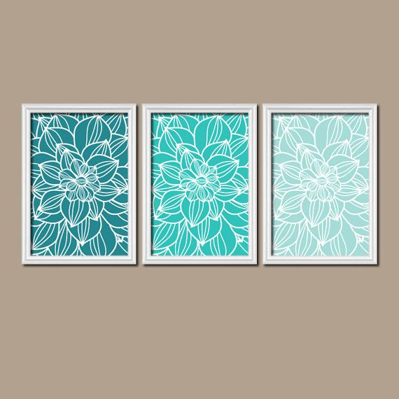 ★TURQUOISE BEDROOM Pictures, CANVAS or Prints, Teal Bathroom Artwork, Aqua Nursery Decor, Flower Outline Dahlia Set of 3 Home Decor ★Includes 3 pieces of wall art ★Available in PRINTS or CANVAS (see below) ★SIZING OPTIONS Available from the drop down menu above the add to cart button with prices. >>> ★PRINT OPTION Available sizes are 5x7, 8x10, & 11x14 (inches). Prints are created digitally and printed with UltraChrome Hi-Gloss ink on professional 68lb satin luster photo paper. Prints are...