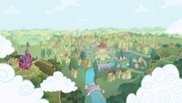 Ponyville is a town in Equestria, the main setting of the series My Little Pony Friendship is Magic, and home to the leading characters. Ponyville is first featured in the first episode and is the setting for most of the episodes. Friendship is Magic is the first episode to show that Ponyville is bordered by the Everfree Forest. In Dragonshy, a mountain is within walking distance of the town.