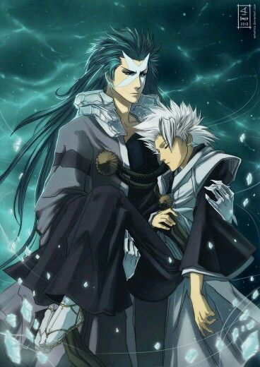 Toshiro with the manifestation of his Zanpakto Hyorinmaru