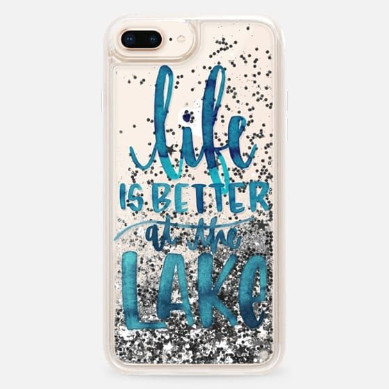 Casetify iPhone 8 Plus Liquid Glitter Case - Life is Better at the Lake | Watercolor | Hand Drawn Typography | Blue | Summer by Katie Clark