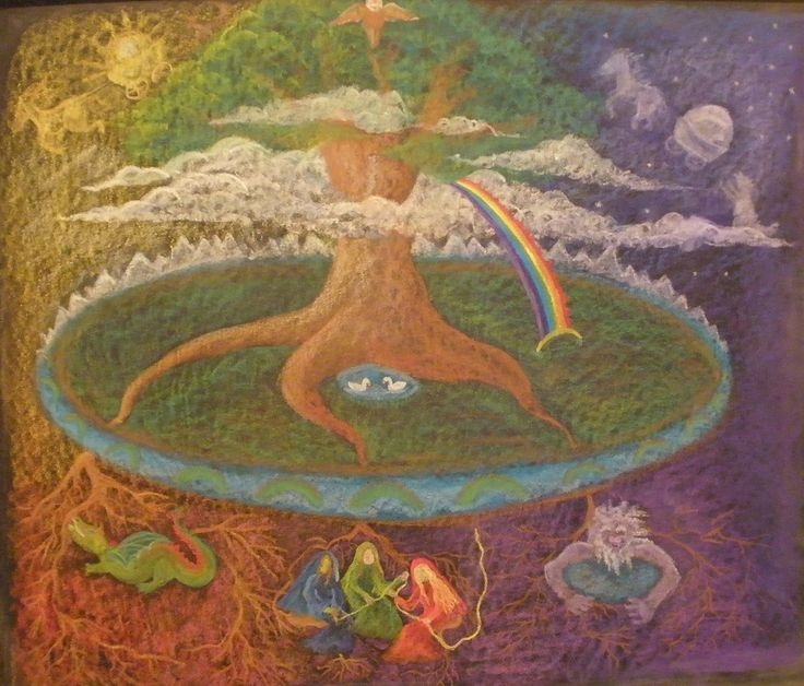 Waldorf ~ 4th grade ~ Norse Mythology ~ Yggdrasil ~ chalkboard drawing