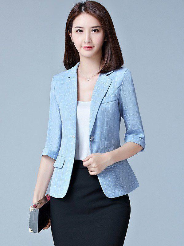 10a68562fa1 ... Blazer Plus Size Casual Female Outerwear OL Coat top. Wholesale Casual  Plaid Three Quarter Sleeve Women Suit OMJ071480