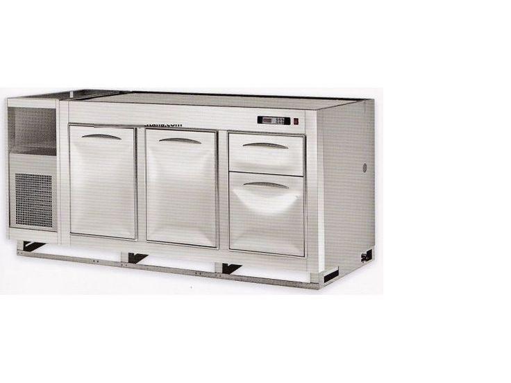 Banco Bar da incasso attrezzato Nuovo cod y1 Banco Bar completo di cella frigorifera in acciaio inox 18/10 finitura BA, isolamento in poliuretano espanso ecologico iniettato monoblocco con densità 40 kg/m3interno