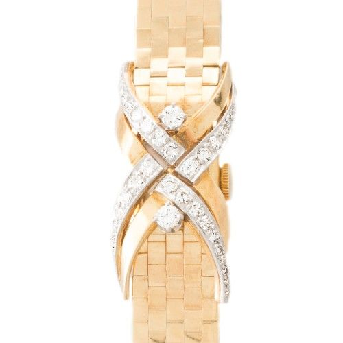 A vintage Gubelin diamond set cocktail watch. Browse our collection of Antique, Art Deco, and modern jewellery at www.rutherford.com.au