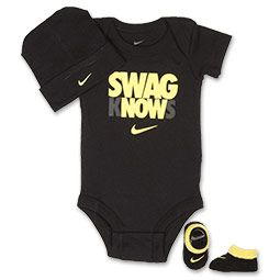 It's never to early to start a love of sports, making the Nike Swag Knows 3-Piece Infant Set perfect for any budding athlete. A bold statement adorns this Infant set, which features a onesie, booties and hat. The perfect shower gift, this set is a great jumping off point for a stylish baby's wardrobe. The onesie features fun screen-printing along with the iconic Nike Swoosh logo, while the hat and booties match perfectly for athletic-inspired cuteness. A three-snap closure on the onesie…