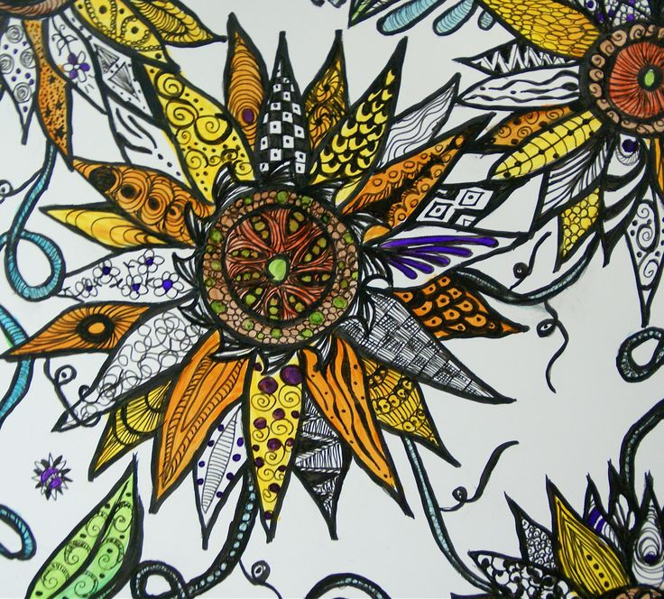 Sunflowers - Zentangle Artwork