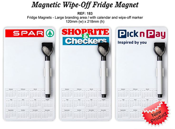 Magnetic Whipe Off Fridge Magnet Min Qty Apply - 250, cw full color print, Set Up Cost R120, R19,65 each