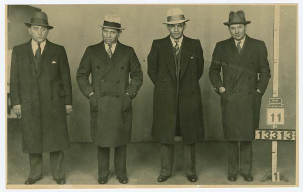 Identification photograph of Louis Kravitz, Jacob Shapiro alias Gurrah, Phillip Kovolick and Hyman Holtz (1930s).