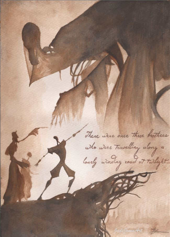 'Tale of Three Brothers' by JadeJonesArt. Piece inspired by the Harry Potter Deathly Hallows. https://www.etsy.com/uk/shop/JadeJonesArt