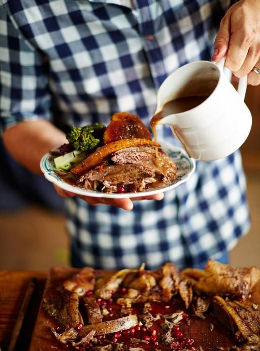 Spiced roast goose. With a rich port gravy If you fancy a change from turkey on Christmas day, try roast goose – rich and golden with crispy skin, it's a real treat