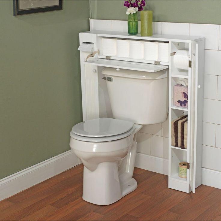 Bathroom Space Saver Over Toilet Wood Storage Cabinet Linen Tissue Holder White #SimpleLiving