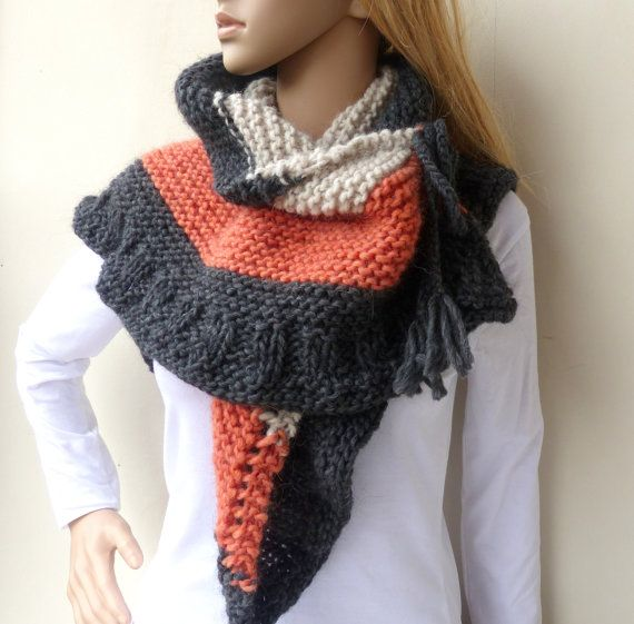 Grey shawl Multi colour hand knitted wrap by SallyAnnaBoutique