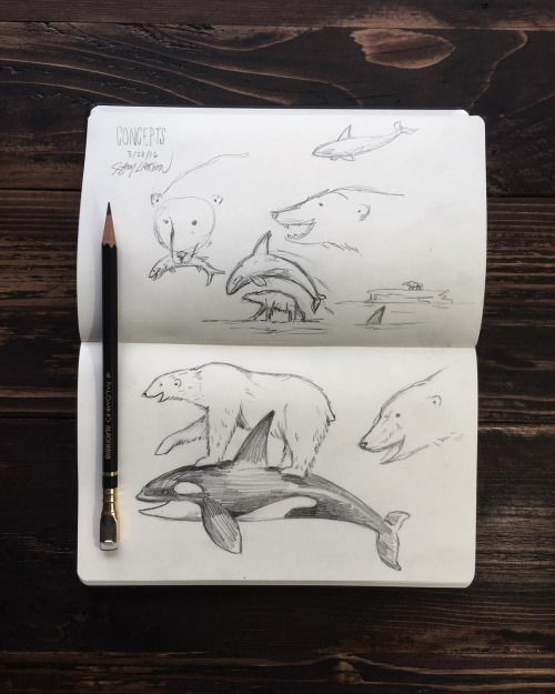 Rough concepts for a future project. #polarbear #orca #art...