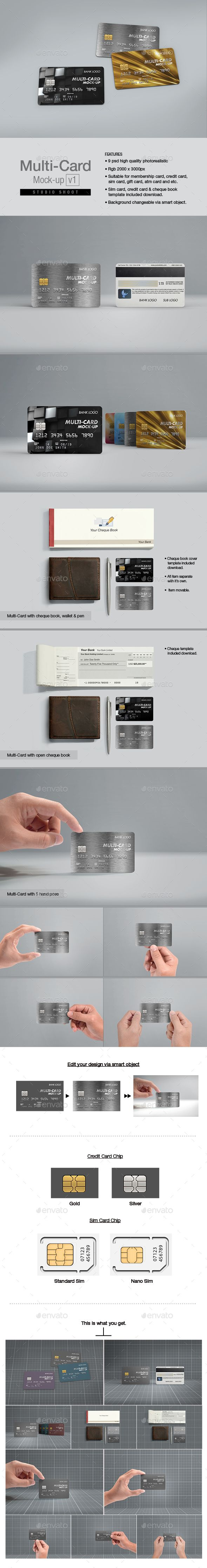 Multi-Card Mock-up v19 psd high quality render image. Rgb 2000x3000px. Suitable for membership card, credit card, gift card, atm c