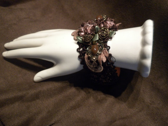 Chocolate And Peaches Cuff Bracelet by touchograce on Etsy, $17.00
