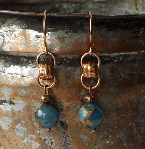 Capture the essence of the distinctive with these fabulous blue quartz and copper earrings! These essential dangle earrings are for the woman who is not afraid to be unique . . . and wear jewelry that expresses it! Singular in both design and elements, these sensational earrings boast a vibe of boho jewelry, offer a perfect compliment to everything denim (and lots of other closthes!) in your closet and would make a sensational gift for her! Details - *Not quite navy and not quite sky blue…