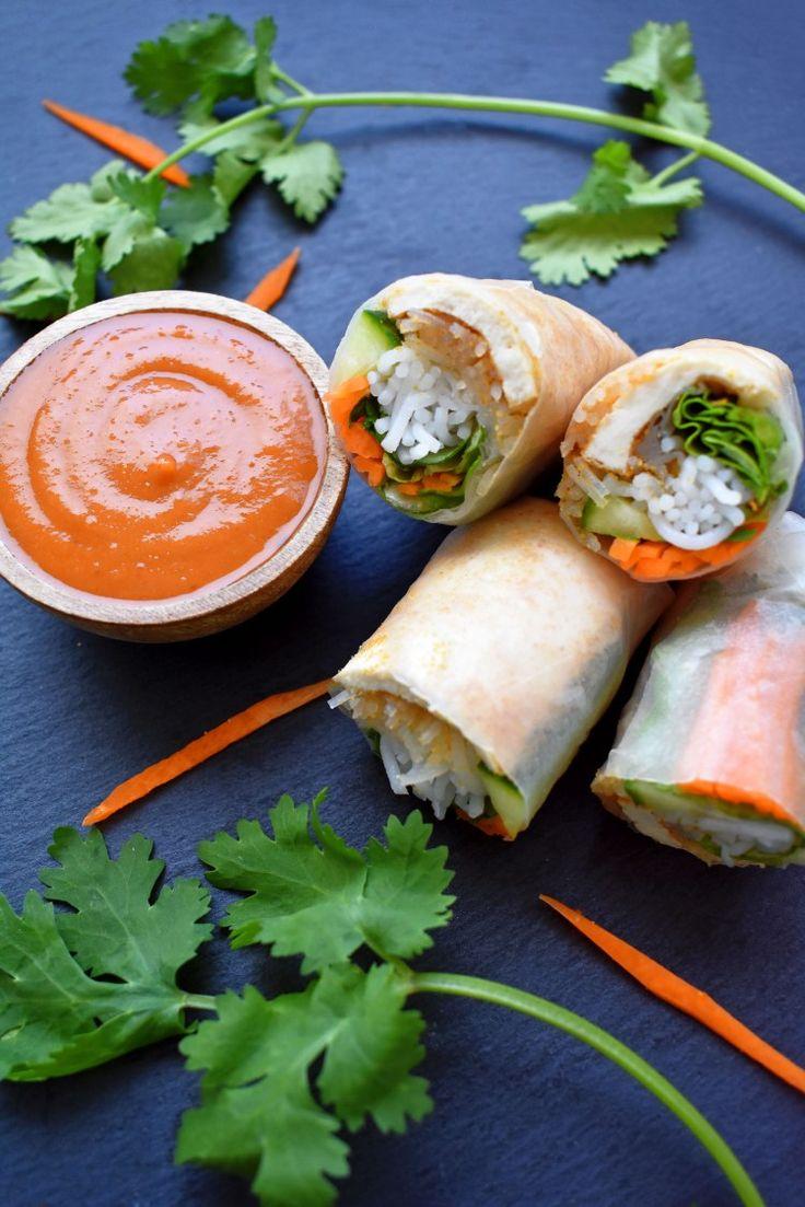 vietnamese vegan rice paper rolls with spicy peanut sauce