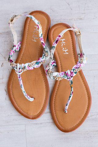 On The Boardwalk Floral Braided Sandals (Beige) - NanaMacs.com - 1