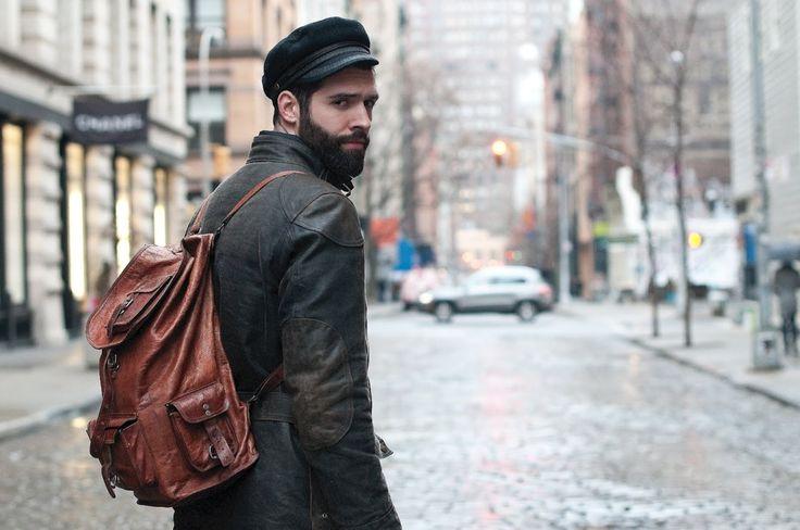 cash lawless & belstaff jacket, fisherman's hat, leather backpack
