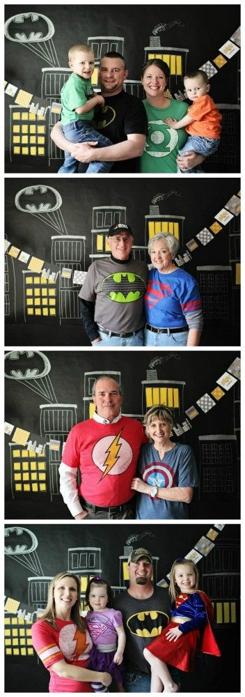 Superheroes! Using the cityscape mural as the backdrop for the photo booth. Notice everyone dressed in their favorite superhero t-shirts! #superhero #party