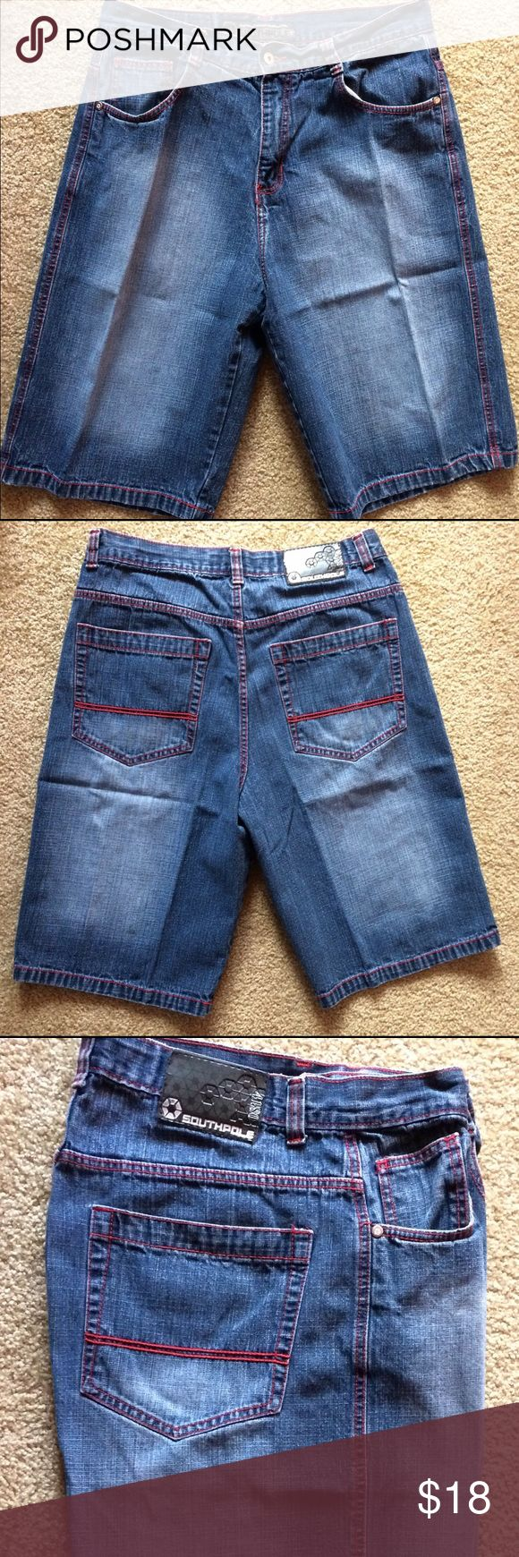 Men's Southpole Jean Shorts EUC! The ex is gone.....so the clothes need to go too! Please don't mind the wrinkles/creases. They've been folded in a pile. South Pole Shorts Jean Shorts