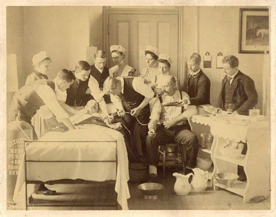An old photo of a blood transfusion from the 1870's at Bellevue Hospital.
