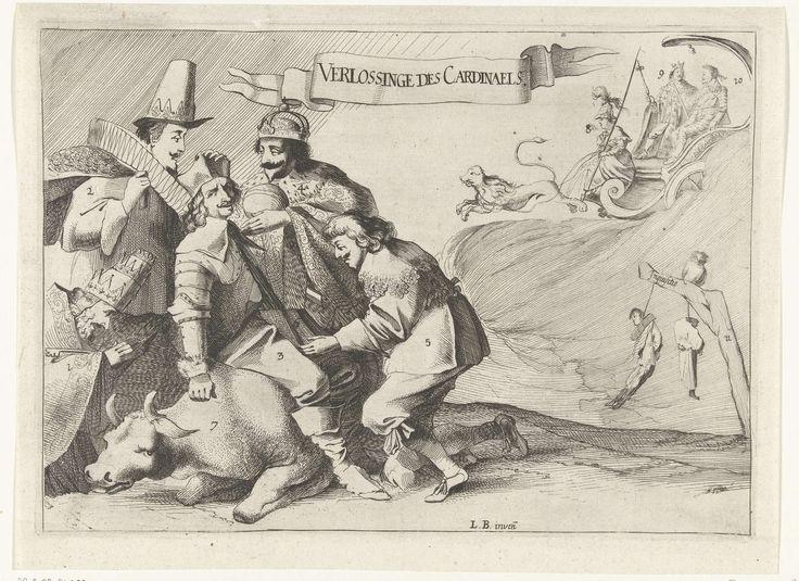 anoniem | Spotprent op het verlies van Schenckenschans door kardinaal Ferdinand, 1636, attributed to Ludolph Breeckevelt, 1636 | Spotprent op het verlies van Schenckenschans aan het Staatse leger onder Frederik Hendrik op 29 april 1636. De kardinaal-infant rustend na de rit van 7 maanden op een razende stier wordt door graaf Willem van Nassau (Willem Frederik?) van het fort Schenckenschans verlost. Hij wordt getroost door de paus, de koning van Spanje en de keizer. Op de achtergrond rijden…