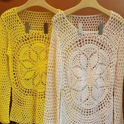 crochelinhasagulhas: Blusa branca em crochê                                                                                                                                                                                 Mais