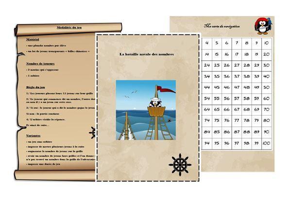 Atelier numération : la bataille navale des nombres (jusqu'à 100) - Le coffre de crapi, zil
