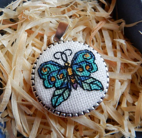 """The #pendant """"Blue butterfly"""" is handmade item with miniature #crossstitch (size…"""