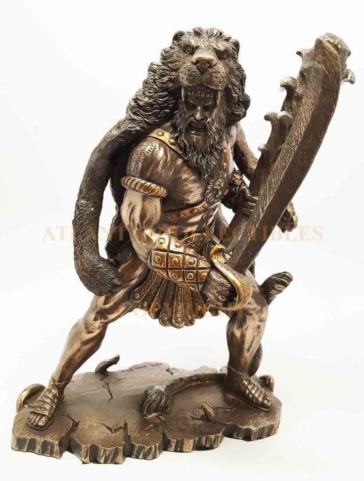 Heracles Statue Figurine Zeus Son Hercules Wearing Nemean Lion Greek Hero Legend