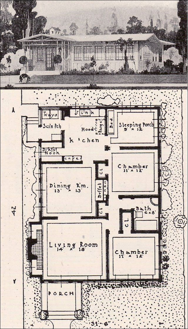 1916 Prairie Style California Bungalow - American Residential Architecture - Garden City Company of California