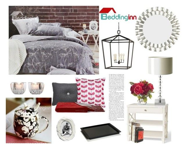 """""""Grey & Red Bedroom"""" by melissa-de-souza ❤ liked on Polyvore featuring interior, interiors, interior design, home, home decor, interior decorating, Pottery Barn, HAY, Kenroy Home and Currey & Company"""