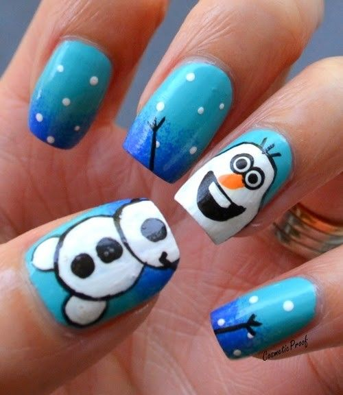2014 Creative blue frozen olaf nail for Halloween