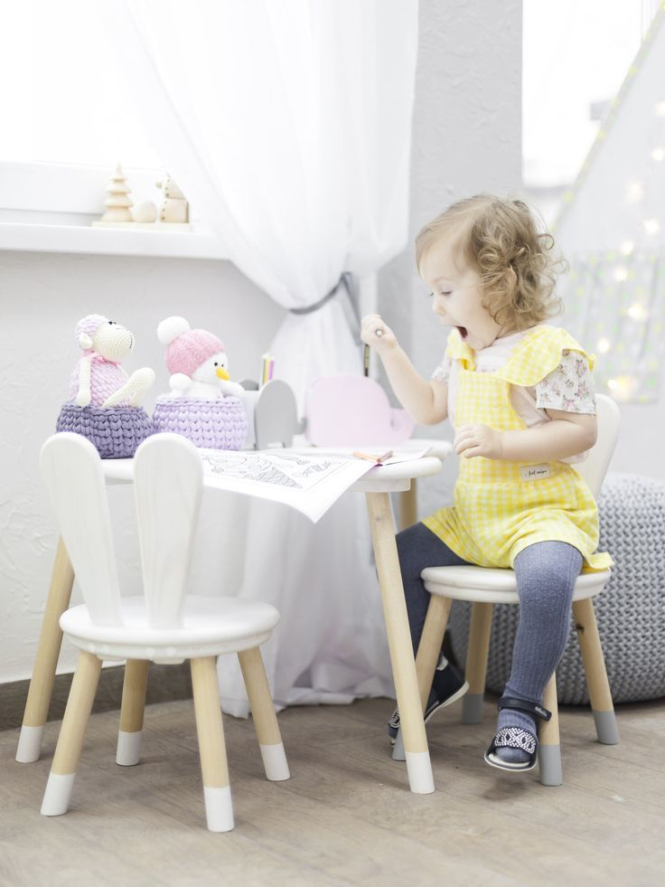 Set Of One Wooden Chair And Cloud Table Table And Chair For Kids