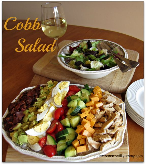 Cobb Salad ~ I make this all the time, so easy and delicious!  One way to remember the components is to use the mnemonic EAT COBB: Egg, Avocado, Tomato, Chicken, Onion, Bacon, Blue cheese.