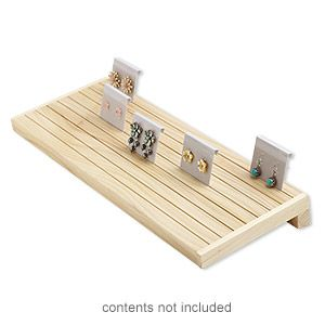 Display, earring card, stained wood, 1-1/2 x 15 x 5-1/2 inch inclined. Sold individually.
