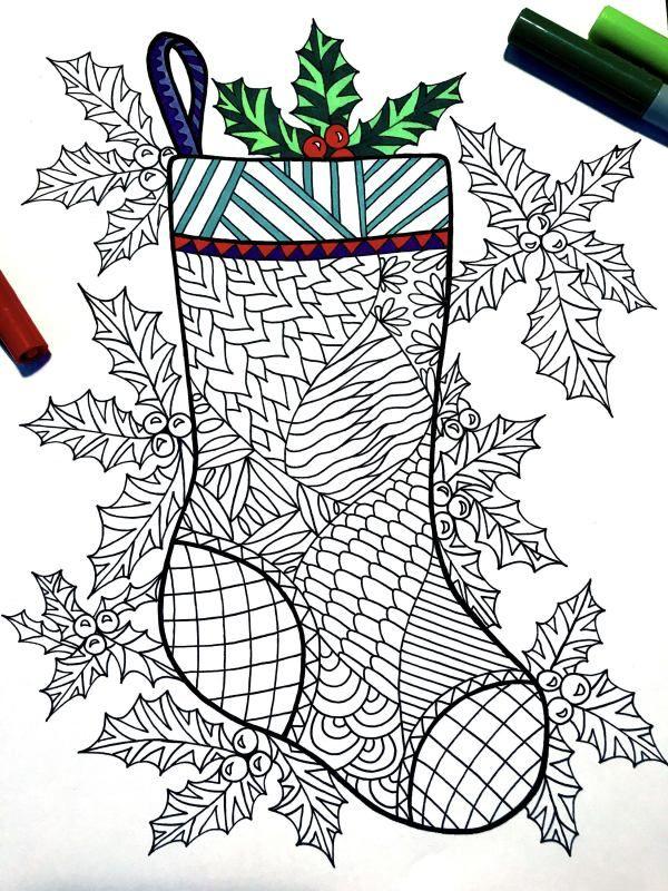 Christmas Zentangles 15 Printable Coloring Pages For The Holidays Christmas Drawing Christmas Stockings Christmas Doodles