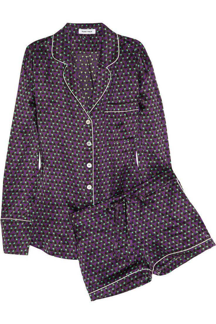 Olivia von Halle|Alba Tatjana printed silk-satin pajama set|NET-A-PORTER.COM