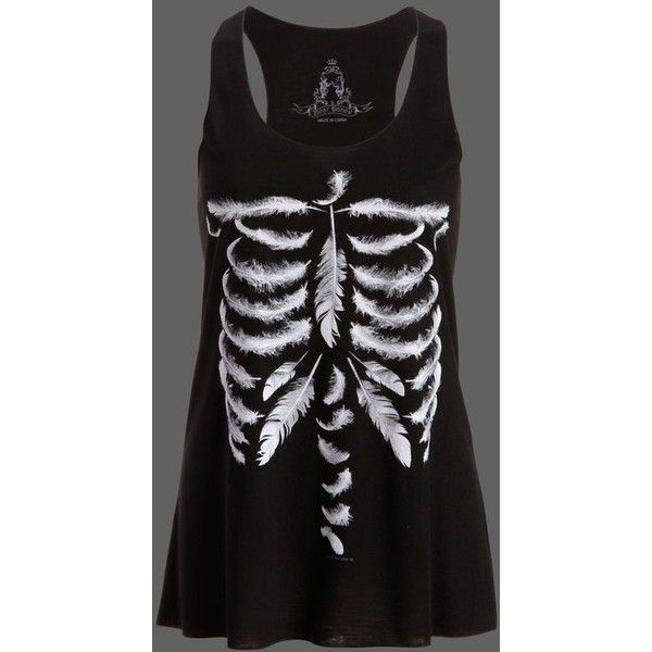 Black Feather Skull Loose Fit Tank Top ❤ liked on Polyvore featuring tops, graphic tanks, muscle t shirts, loose fitting tops, graphic tank tops and loose fit tops