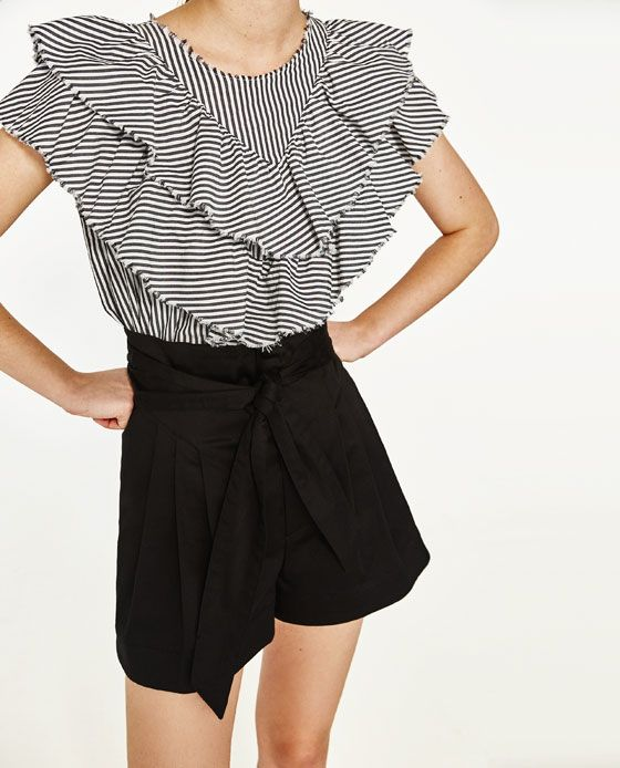 THIS SHIRT!!!!!!!!!! Image 2 of POPLIN BERMUDA SHORTS WITH BOW from Zara
