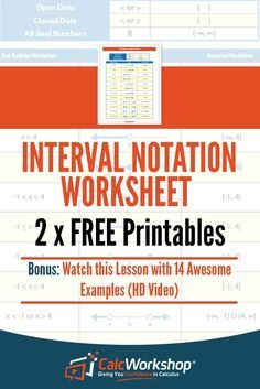 Interval Notation - FREE Worksheets!  Great practice exercises in Precalculus or even Algebra 2.  Use these notes as an activity to increase your understanding of Graphing Inequalities and Transforming Set Builder Notation to Interval Notation.  Grab your FREE worksheets today! #algebra #teachingresources