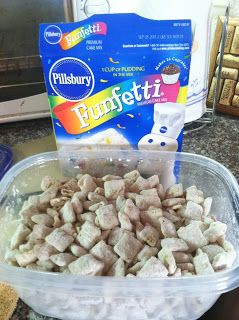 Puppy Chow  Ingredients:  1 Box corn Chex cereal (The big box, about 10 cups of cereal)  1 12 oz. bag of white chocolate chips  1 Tbsp. butter  1 Tbsp. Heavy Cream  3 Cups cake mix  1 Cup powdered sugar