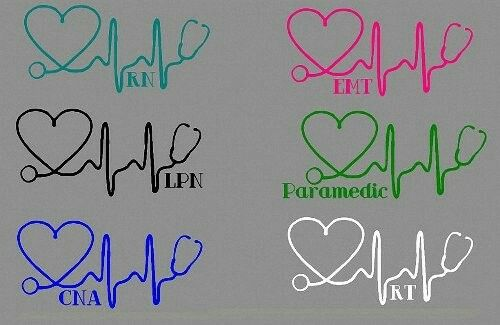 The heartbeat of healthcare. Love your profession with this stethescope heartbeat decal.  RN, EMT, LPN, Paramedic, CNA and RT credentials.  Choose from six different colors too! Teal, Pink, Black, Green, Blue or White.