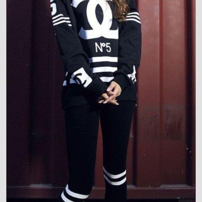 Black chanel sweat suit black chanel sweatsuit blouse chanel