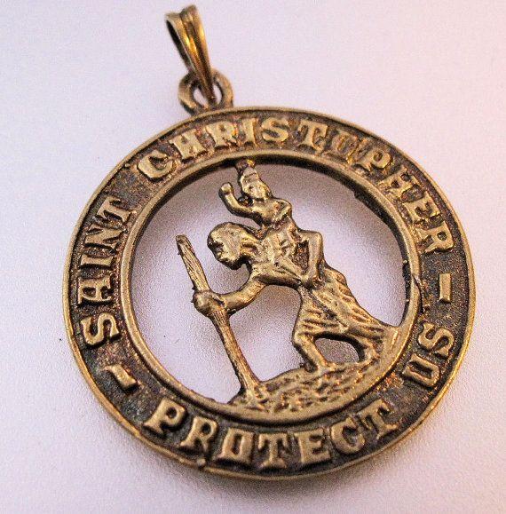 St. Christopher Medal Sterling Vermeil by BrightEyesTreasures, $24.99
