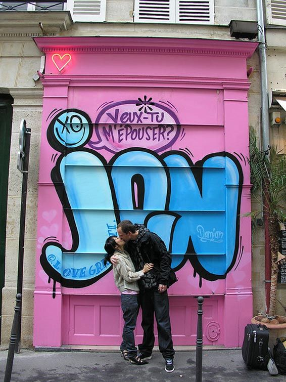 To propose with a personalized graffiti question #shesaidyes