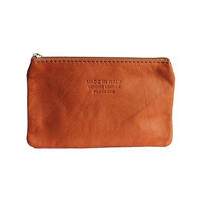 Martha Italian Tan Leather Cosmetic/Makeup Bag - £12.99