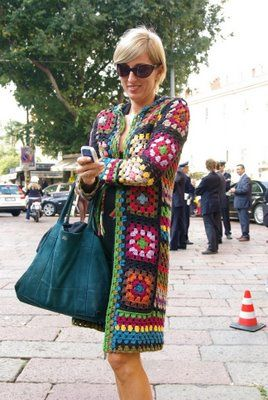 Afghan Granny Square Coat (is it just me, or does this lady look suspiciously like Princess Diana?)